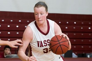 Forward Colleen O'Connell '15 pushes through Berkeley College's (NY) defense at last Saturday's game. The women's basketball team won the match with a score of 72-55 and will face Bard on Jan. 8.Photo courtesy of Vassar Athletics