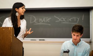 Vassar's Debate Society hosts a demo debate with the hope of recruiting new members. The organization competes interscholastically in American Parliamentary, and is open to all levels of experience. Photo By: Josh Sherman