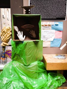 Trash sculptures, created by freshman fellow groups during the Love Lockdown, were on display in the College Center for roughly a week, emphasizing the importance of sustainability. Photo By: Vassar College office of Sustainability