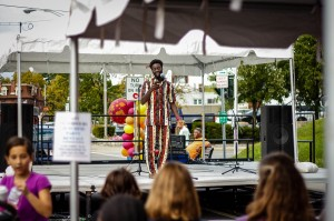 Sophomore Cheikth Athj '16 performs for a crowd of Vassar students and Arlington residents at this year's Arlington Street Fair which took place on Saturday, September 21. The event showcased performances by several student groups. Photo By: Sam Pianello