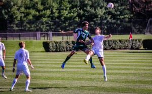 Junior Zack Nasipak of men's Soccer in action against Skidmore College this past Saturday on September 28. Nasipak, a defender on the team, is in his third year. Men's soccer seeks to live up to high expectations this season, standing at 5-3-2. Photo By: Alec Feretti