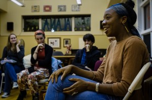 Women's studies major Brittani Skyers-White '16 hosted an event on Thursday, October 24 in the ALANA Center. The event included a discussion of the intersectionality of race, gender, class and feminism online. Photo By: Jacob Gorski