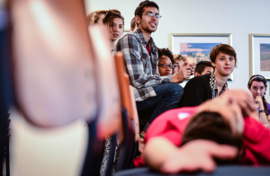 Students gathered in the College Center Multi-Purpose Room to participate in a program of classism and its role on Vassar's campus.