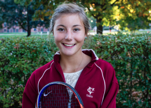 Freshman Emily Hallewell, a new addition to the women's tennis team, brings her nationally-ranked skills, and what her teammates consider her helpful cheerful attitude, to Vassar College. Photo by: Jacob Gorski.