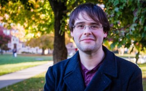 Jean-Luc Bouchard '14 exercises his creativity in Comedy Normative, his prior work as Humor and Satire editor of The Miscellany News, and his own writing. His thesis will be a full-length novel. Photo By: Jacob Gorski