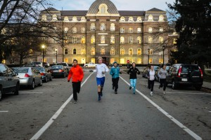 Members of the organization RunVassar take on one of their regular routes around Vassar's campus. RunVassar on average will have group runs four times a week. Photo By: Spencer Davis
