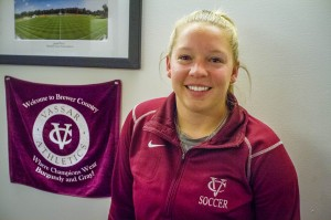 Newly appointed Assistant Coach Pamela Monnier brings her goalkeeping experience to the women's soccer team. Monnier joins the Vassar staff after attending and coaching at SUNY Cortland. Photo By: Jacob Gorski