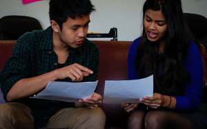 VP for Academics Shruti Manian '14 and Main House President Reuben Moncada '15, organizers of the Peer Advising event,  discuss the advising system.