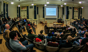 Copyright infringement lawyer and Vassar graduate Kim Landsman spoke to students regarding the difference between piracy and inspiration. Photo by: Alec Ferretti.