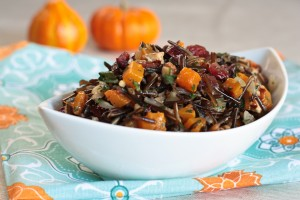 The following is a recipe for wild rice pilaf with butternut squash, cranberries, and pecans. Courtesy of: whatwouldcathyeat.com