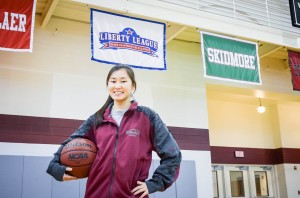 Senior co-captain Cydni Matsuoka recently earned a spot in the women's Basketball Hall of Fame. She has also earned a series of other accolades this season alone, including DIII All-American. Photo By: Elizabeth Berridge