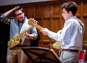 Pictured above are John Winton '16 on sax and Charlie Perkins '17 on guitar. They are two members of the combo Chuck and the Peanuts, which performed last Friday, Jan. 24 in the Villard Room. Photo By: Sam Pianello