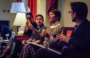 """Professor of History Rebecca Edwards speaks to Vassar community about the somewhat chaotic post-graduate experience. This event is part of a year-long series titled, """"Oh the Places I've Been."""" Photo By: Nathan Tauger"""