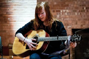 Kristen Tivey '12 returned to Vassar, the site of her beginnings as a musician, on Jan. 30 for a performance in the Aula. She currently lives in New York City and is an emerging artist in the Brooklyn music scene. Photo By: Emily Lavieri-Scull
