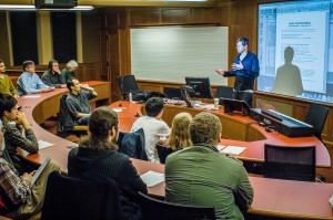 Jamie Christopherson '97 gave a lecture and tutorial on composing music for the full media spectrum on Jan. 31. From video games to amusement parks, his signature creations have been prominently featured on a number of platforms. Photo By: Alec Ferretti