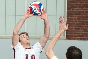 Junior setter Colin White-Dzuro in action vs. SUNY New Paltz. The men's volleyball fell to No. 4 ranked New Paltz 2-3. However, in its next match vs. Elms, the team won with a final score of 3-0. Photo By: Vassar College Athletics