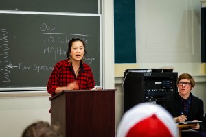 Hannah Matsunaga '16 argues against Vassar's divestment from companies that consume or promote the consumption of fossil fuels. Matsunaga participated in the event held by Vassar Debate Society. Photo By: Emily Lavieri-Scukk