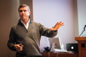 Robert Nickelsberg spoke on Feb. 4 about the lessons he has learned in his years as a photojournalist. Nickelsberg has spent much of his time covering U.S. invasions in the Middle East. Photo By: Sam Pianello