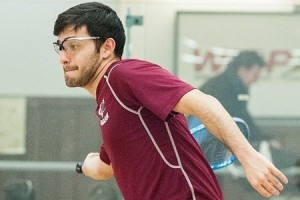 Sophomore Juan Fernandez recently played in the number three spot vs. Fordham University. After losing six senior women last year, the squash team went co-ed and is currently building up its roster. Photo By: Vassar College Athletics