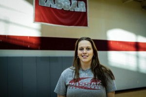 Assistant Coach Kaliegh Lussier played for Head Coach Candice Brown at Manhattanville. Coach Lussier played for Louisiana State University at the division one level for four years. Photo By: Jacob Gorski