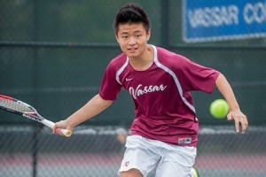 Sophomore Shua Huang is a member of the Vassar men's tennis team, which has a number of young players. The team will attempt to recapture the Liberty League Championship later in the season. Photo By: Katie de Heras