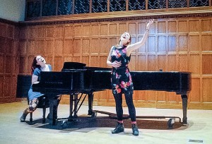 Alquist and Thornburgh exemplify the liberal arts ideal that one can pursue interests outside of their major. On March 1, the political science and studio art major join forces for their senior recital in Skinner Hall. Photo By: Miranda Alquist and Alice Thronburgh