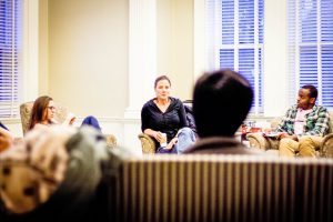 Davison House hosted a CommuniTea last Sunday featuring Daphne Uviller, a local writer and author of two novels. Uviller shared with students the pleasrues and difficulties a writing life affords. Photo By: Sam Pianello