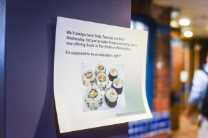Campus Dining announced last week that the Kiosk will begin serving sushi trays every Wednesday. Students can now conveniently enjoy California rolls without journeying off campus. Photo By: Katie de Heras