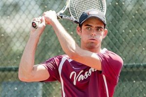 Men's tennis has defeated all three Liberty League opponents they have faced early in the spring season. Evan Udine '16, pictured above, had his first collegiate match clincher in the game against RPI. 7-5, 6-3. Photo By: Vassar College Athletics