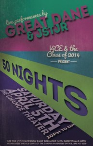50 Nights is the only all-campus event Vassar offers off campus, and it is held The Chance. This year, students' rowdy behavior amounted to property damages and assaults on security.