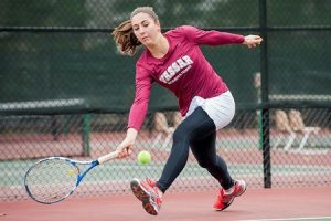 Sophomore Lauren Stauffer is one of the sophomores on the women's tennis team. The Brewers recently lost in Liberty League Championships against the rival Skidmore College Thoroughbreds. Photo By: Vassar College Athletics