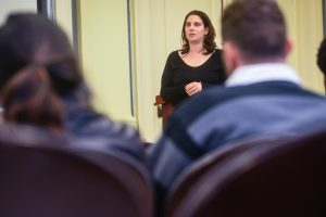 """Renee Pabst spoke at a town hall meeting called """"Unmasking the Disease of Addiction,"""" in which students and administrators discussed issues surrounding drug and alcohol abuse on Vassar's campus. Photo By: Spencer Davis"""