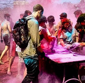 Holi is a Hindu holiday celebrating the approach of the vernal equinox. In anticipation of the coming spring, participants throw colored powder at each other and engage in other festivities. SASA hosted this event on April 13 on the quad. Photo By: Debbie Altman