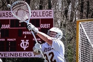 Freshman lacrosse goalkeeper Brandon Crecco blocks a goal from the opposing team. The men's lacrosse team lost a match against Rochester Institute of Technology over the weekend on April 12. Photo By: Vassar College Athletics