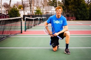 Daniel Cooper is a co-captain of the Vassar College men's tennis team. Cooper plays as one of the top seeded singles and doubles players for the team. Men's tennis aims to reclaim the Liberty League title. Photo By: Sam Pianello