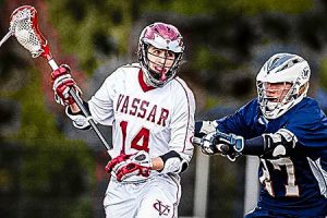 The men's lacrosse team, including Dylan Staub, pictured above, has increased their recruitment process immensely since the past year. They have also set up a fundraiser to raise money for National MS Day. Photo By: Vassar College Athletics