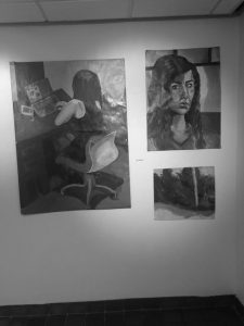 2016 member Olga Voyazides' paintings were among those featured at the Palmer Gallery April 10 through 15. Next week photography students' work will adorn the walls, followed by pieces from the Painting II class Photo:  Olga Voyazides