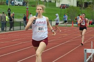 Maggie Sowa '15 helped round out women's track's historic season this spring. The women's track team broke four school records this past season and competed in the Liberty League Campionships. Photo By: Vassar College Athletics