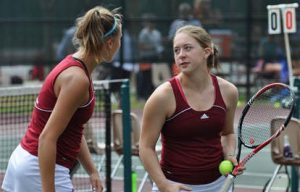 Recently the Vassar College Women's Tennis team began their season with a bang through their wins at the Vassar Scramble and the Williams College Invitations leading to Liberty League Honor selections. Photo By: Vassar Athletics