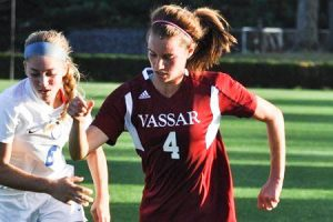 Freshman Katie Voegtlin led the women's soccer team this past weekend to a blowout win over Manhattanville College 6-0. This performance earned her an ECAC Upstate Athlete of the Week honor. Photo By:  Freshman Katie Voegtlin led the women's soccer team this past weekend to a blowout win over Manhattanville College 6-0. This performance earned her an ECAC Upstate Athlete of the Week honor.