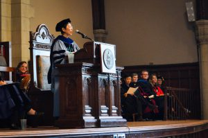 Director of Asian Studies and Professor of Chinese and Japanese Peipei Qiu delivered a speech at Convocation that drew from her experiences as a child during the Chinese Communist Revolution. Photo By: Maximilien Moran