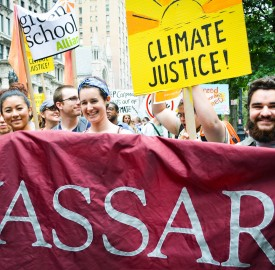 Over 80 current students, alumni and faculty from Vassar were one small contingent of the over 300,000 people who participated in the People's Climate March to raise enviromental awareness in New York City this past Sunday. Photo By: Emily Lavieri-Scull