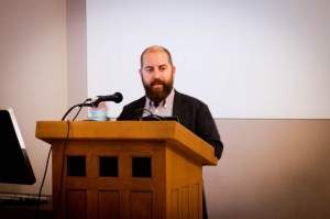 """Author Jesse Row read a passage from his novel, """"Your Face In Mine"""" this past Tuesday. The book addresses the concept of racial reassingment surgery, which Row has explored in his travels. Photo By: Sam Pianello"""