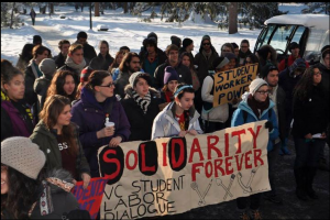 conditions and compensation. They assisted in garnering student support for contract negotiations. Courtesy of Vassar Student/Labor Dialogue Students affiliated with the student group the Student/Labor Dialogue rally for better labor