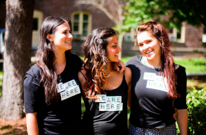 Sofie Cardinal '15, Shivani Davé '15 and Emma Redden '15 started We Are Here to better address issues of sexual violence. We Are Here is meant to help foster a violence-free community through education. Photo: Sam Pianello