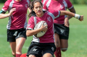 Junior winger Anne Fritzson leads the Vassar Women's Rugby Team on a 39-17 win against Sacred Heart University in Connecticut. She led an impressive women's squad with a total of three tries on the day. Photo: Vassar Athletics