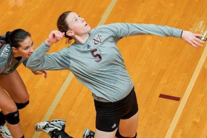 Senior Clara Cadrillo looks to make a game-changing at the Vassar Invitational this past weekend. Vassar Women's Volleyball Team looks to rebound from a tough weekend in their upcoming games. Photo: Vassar Athletics