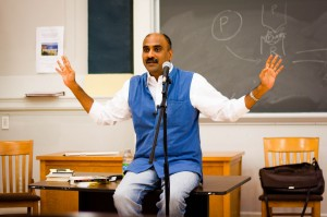 Manoj Mitta spoke in Rockefeller Hall on Monday night in an event held by the Political Science department. His topic was his books, which deal with the impunity related to violence in Indian society. Photo By: Sam Pianello