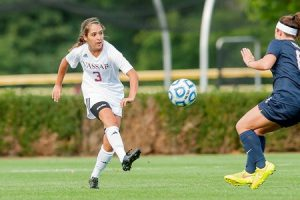Sophomore defender Kelsey Hamm of women's soccer clears the ball upfield for the Brewers. Hamm was one of the many players who had a strong performances at home for the College this past week. Photo By: Vassar College Athletics