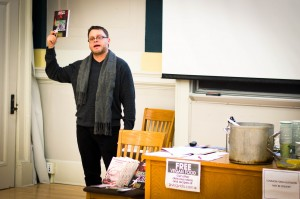 Jason Del Gandio, editor of a recently published book about the Animal Enterprise Terrorism Act, spoke to Vassar students as part of a lecture series on animal rights activism and the law, hosted by VARC. Photo By: Emily Lavieri-Scull